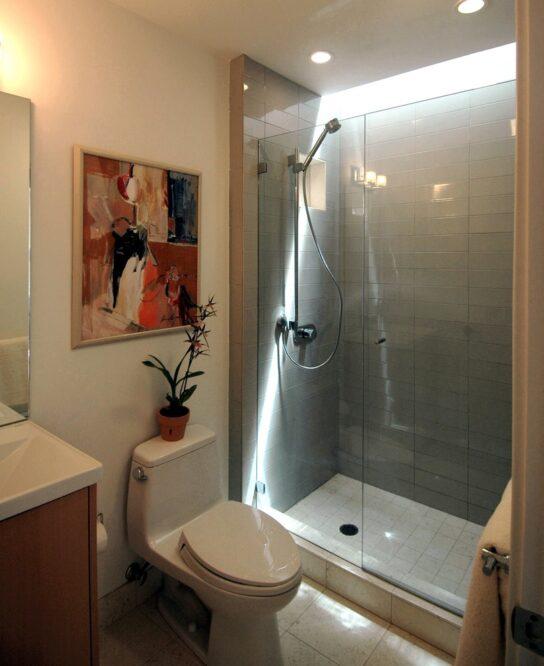 ванная с душевой из плитки