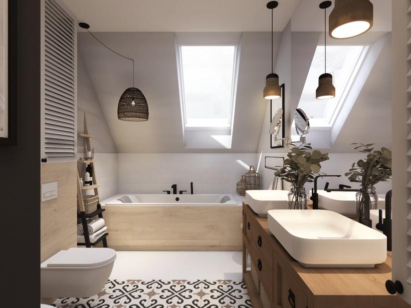 скошенный потолок в ванной в мансарде