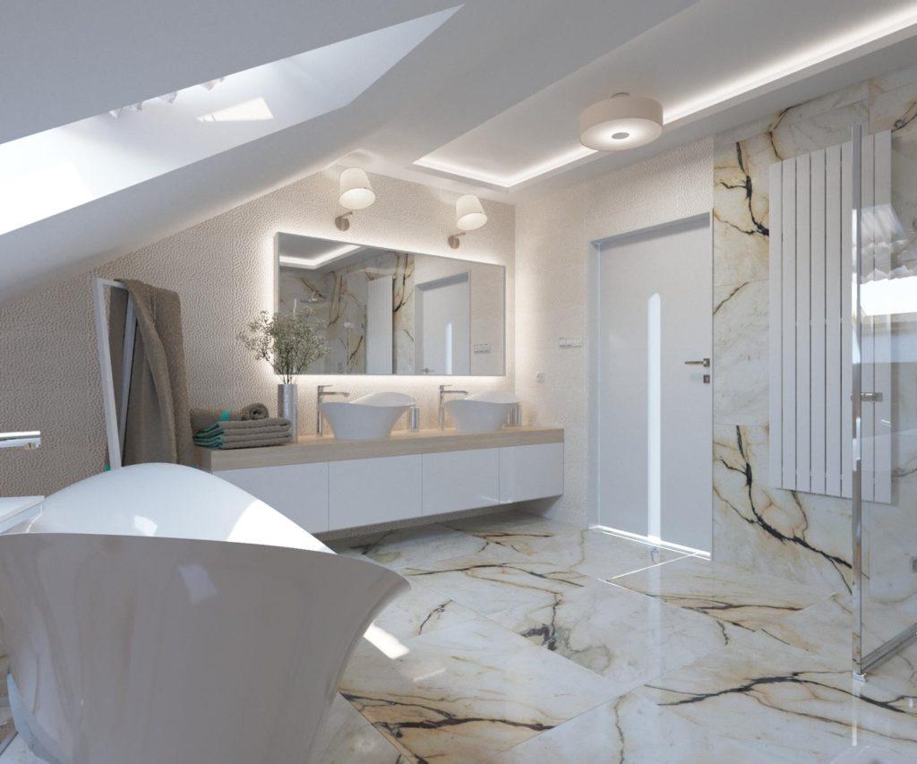 потолок в ванной мансарды