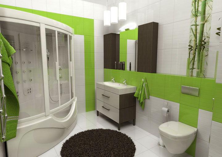 бело зеленая ванная