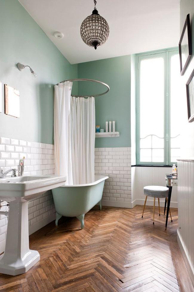 зеленая плитка для ванной комнаты