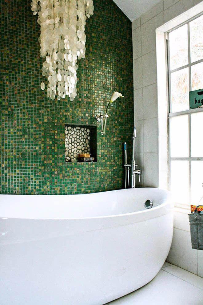 зеленый в интерьере ванной
