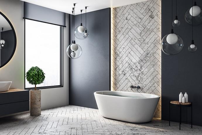 дизайн большой ванной комнаты с душевой