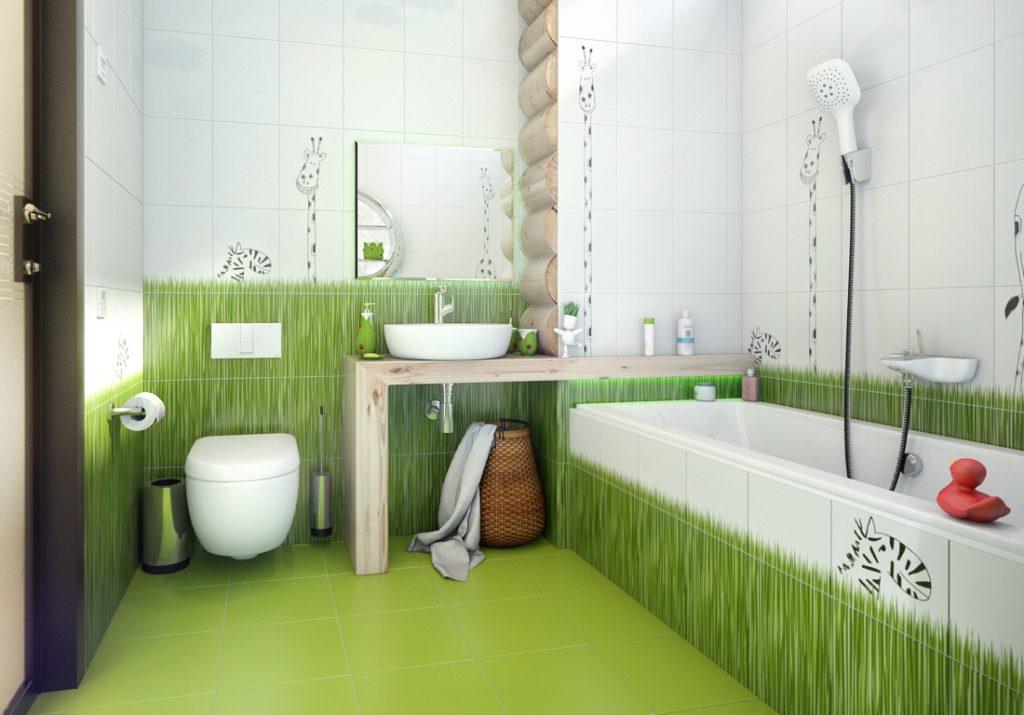дизайн ванной зеленой плиткой