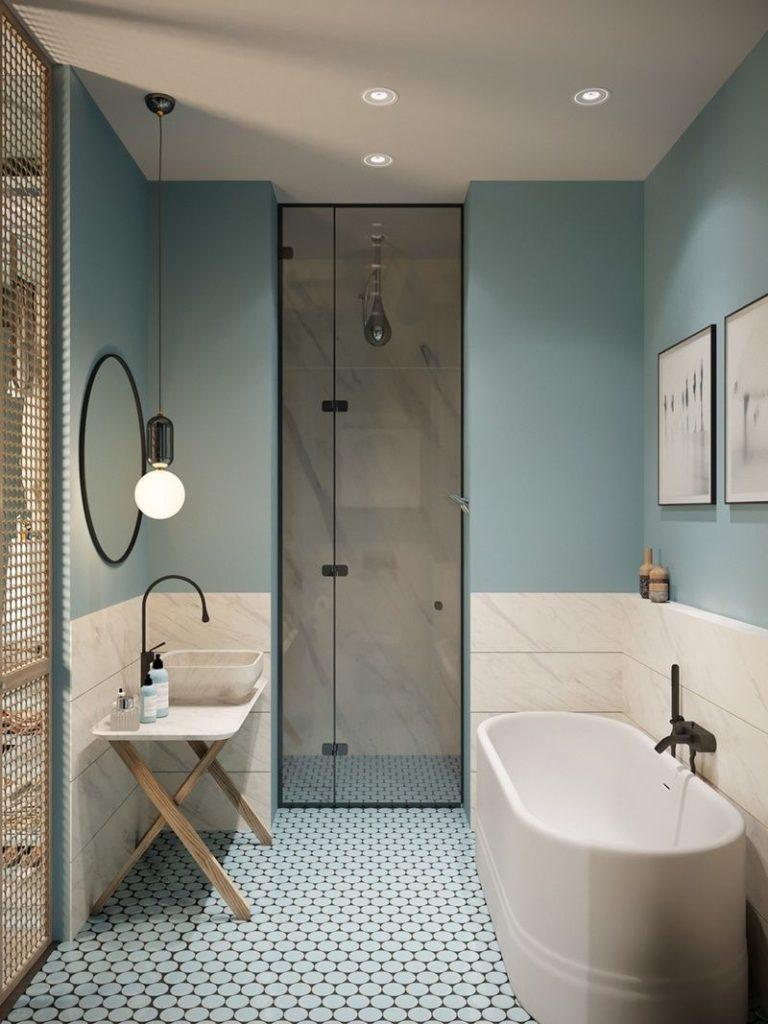 дизайн ванной в голубых тонах