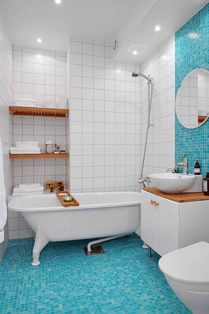 бело голубая ванная комната