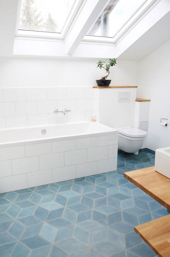 дизайн ванной в голубом цвете
