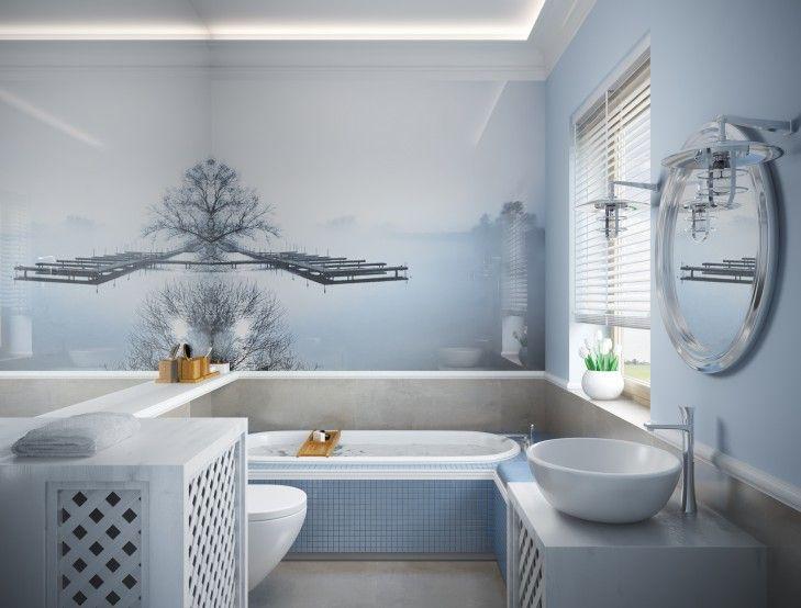 голубая плитка для ванной комнаты