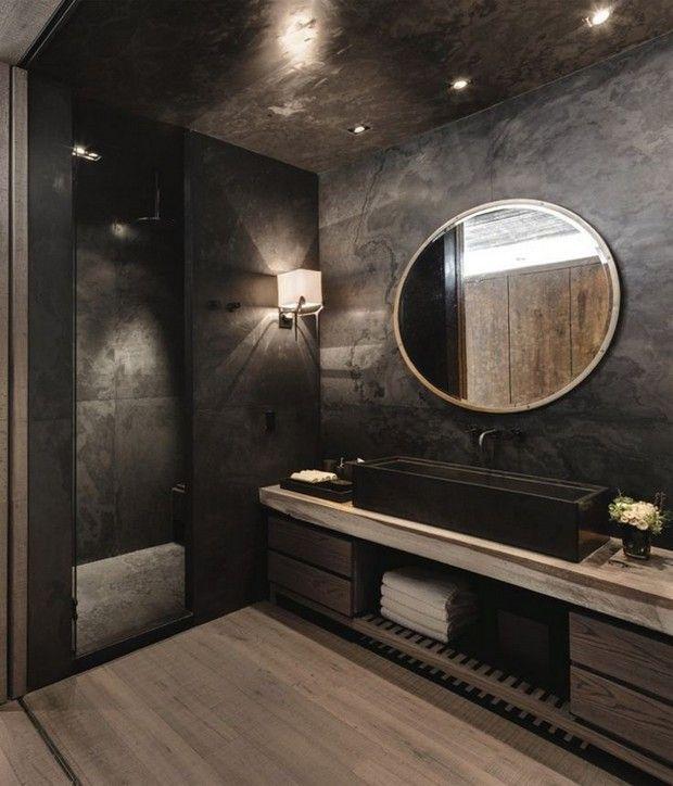 черная ванная комната дизайн фото