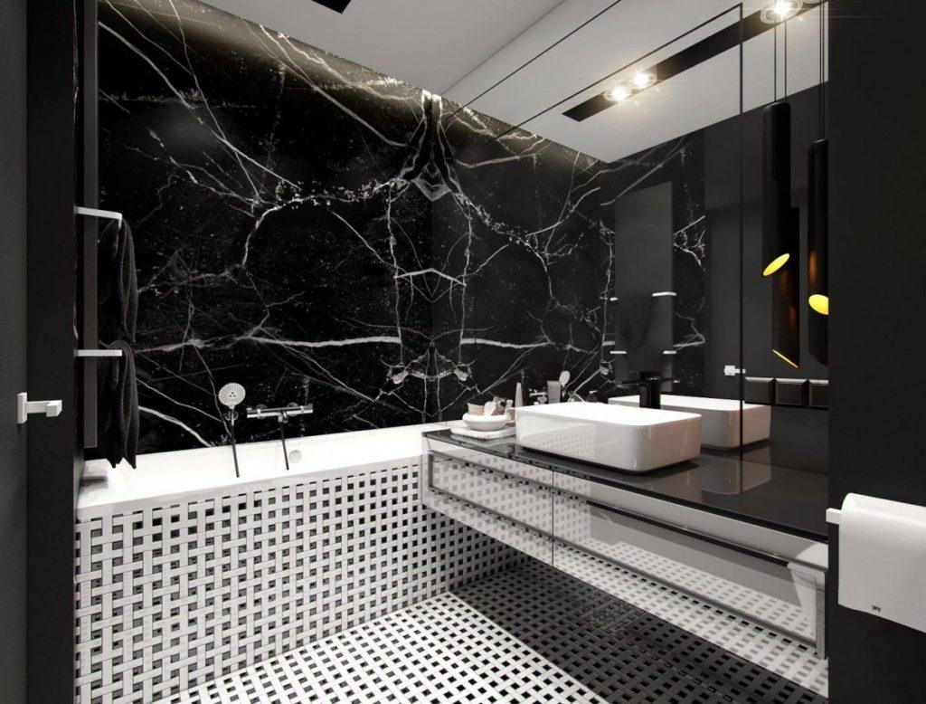 укладка плитки в ванной квадратная