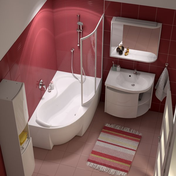 ванная комната с угловой ванной дизайн фото