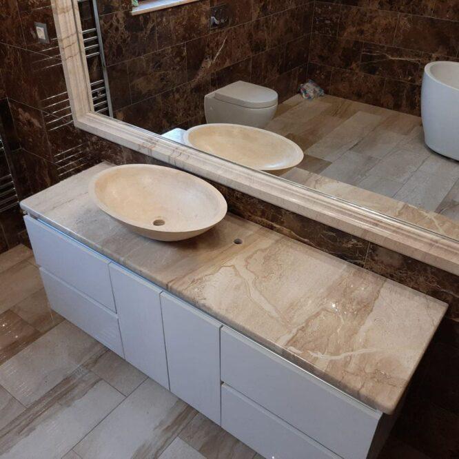 ванная комната плитка под мрамор фото