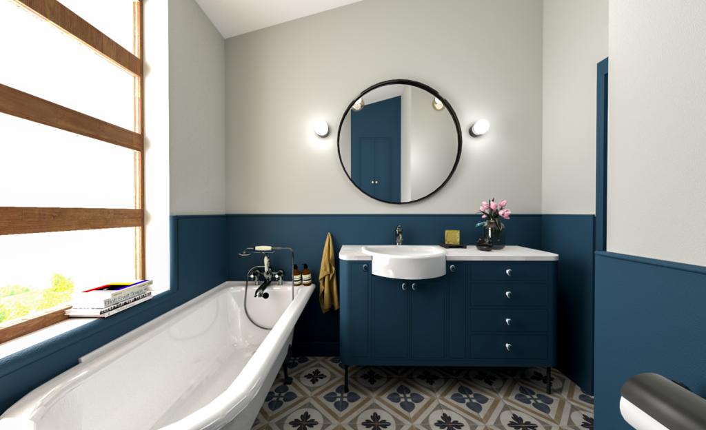 темно синяя ванная комната