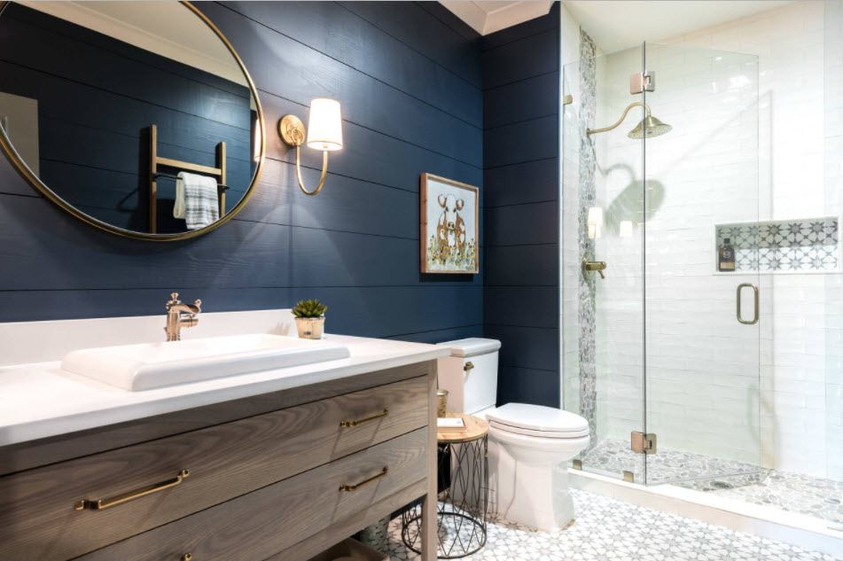 плитка для ванной синяя