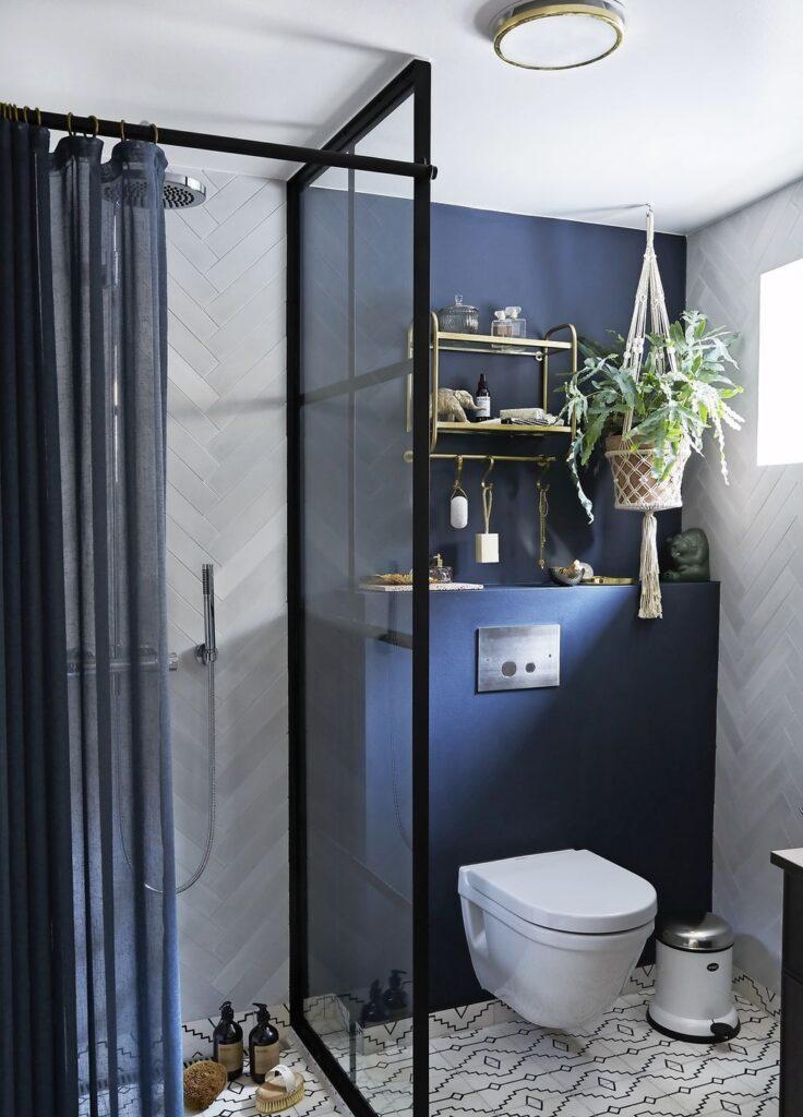 интерьер синий ванной