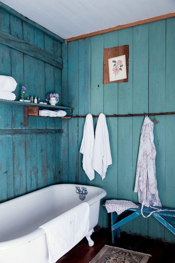 сине голубая ванная