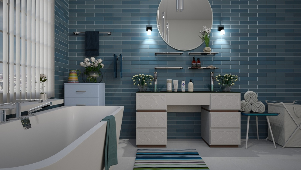 керамическая плитка синяя в ванную