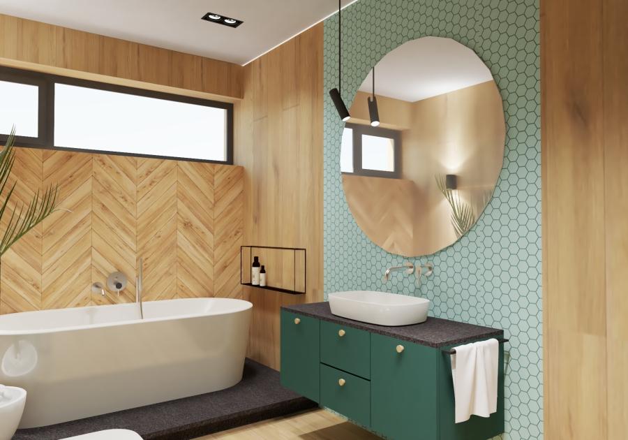 ванна с плиткой под дерево