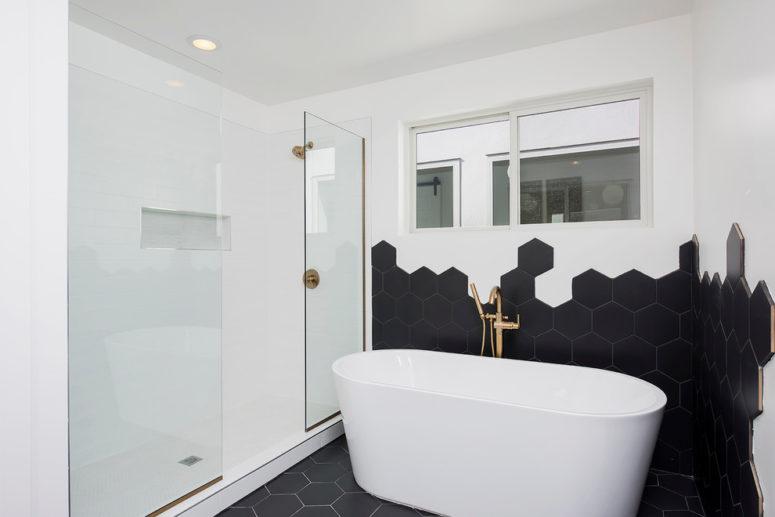 плитка гексагон в ванной
