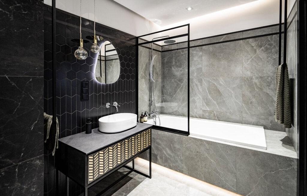 современные душевые ванные