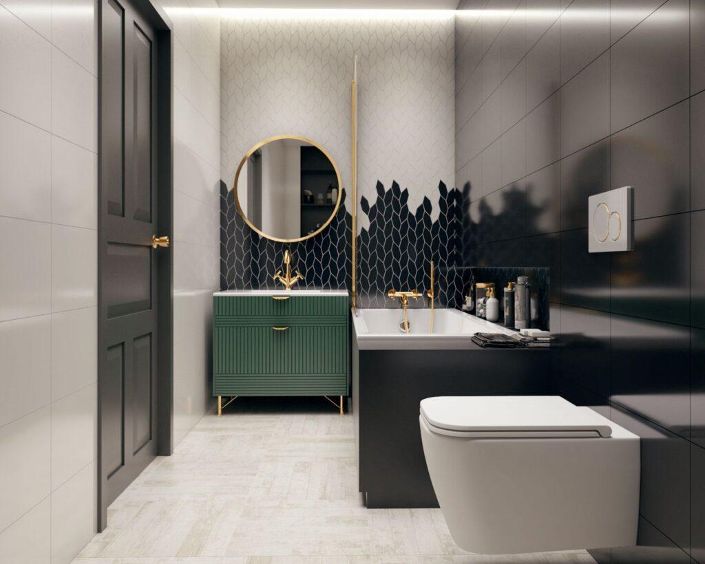 черно белая плитка ванною комнату