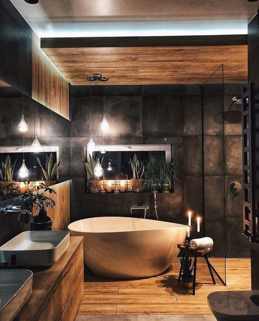 дизайн ванной коричневый