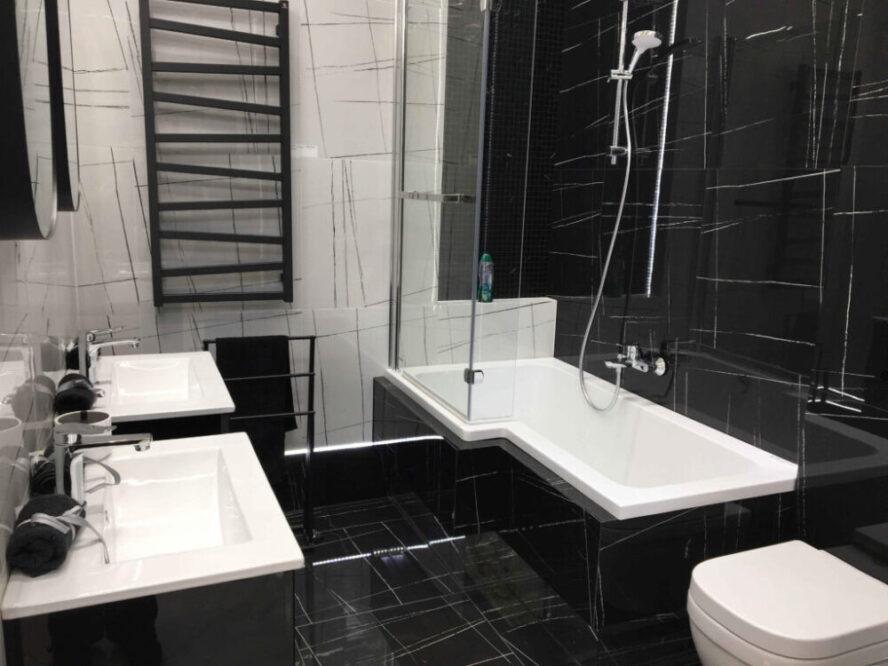 черно белая ванная дизайн фото
