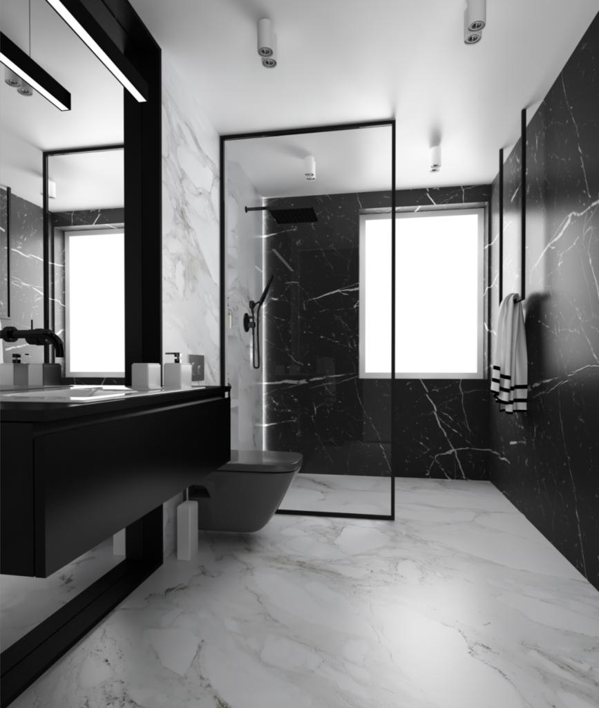 дизайн маленькой ванной черно белая