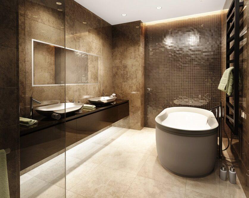 бело коричневая ванная