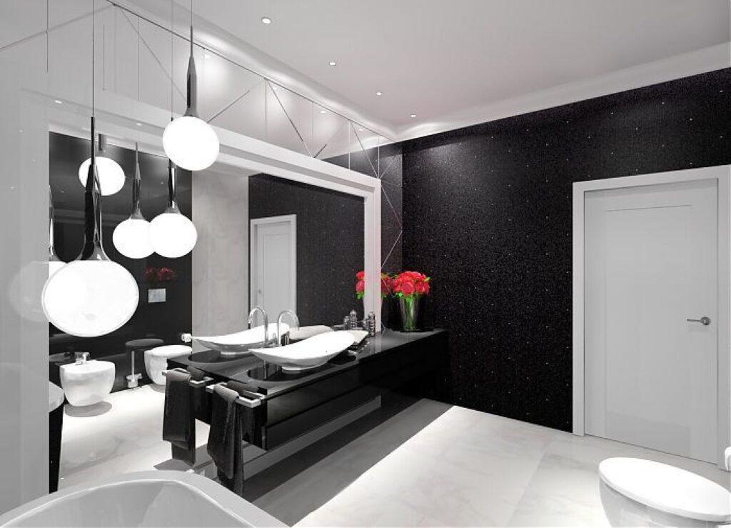 черная мебель для ванной