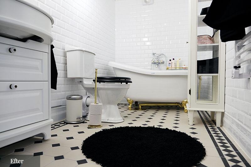 отделка ванной черно белая